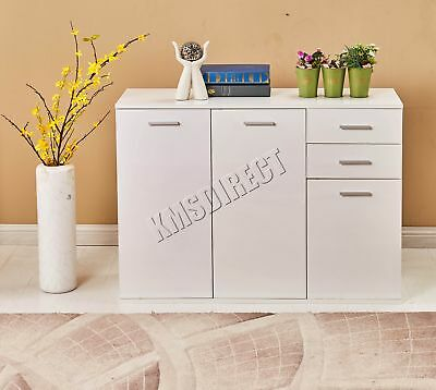 FoxHunter White High Gloss Cabinet Unit Sideboard 2 Drawers 3 Doors Modern New