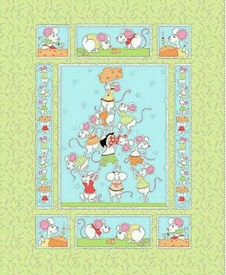 Susybee...norton The Mouse Quilt Panel. ..green...in Stock. ..free Post
