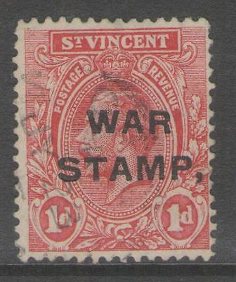 """ST.VINCENT SG122b 1916 1d RED """"COMMA FOR STOP"""" FINE USED"""