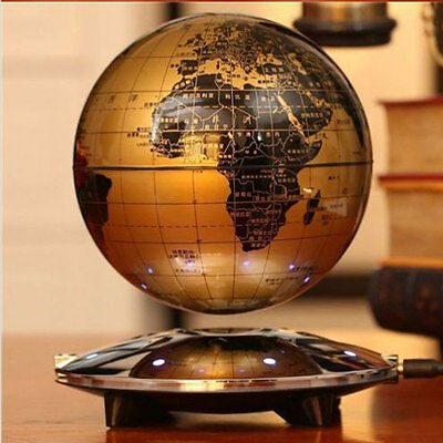 New Magnetic Levitation Maglev Levitating Floating Globe World Map 8 LED Decor