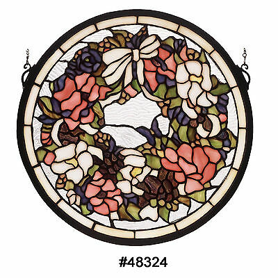 "MEYDA 15"" Revival Wreath & Garland Medallion STAINED GLASS WINDOW #48324 NEW"