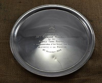 Vintage George V Solid Sterling Silver Heavy Presentation Salver Elkington