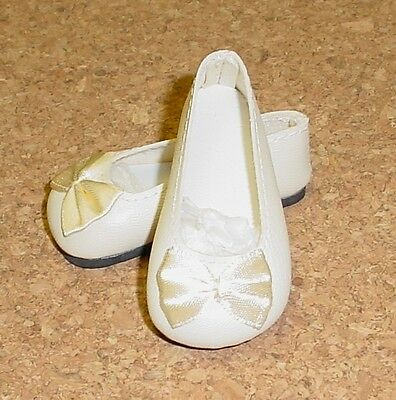 Doll Shoes, CREAM 58mm Slip on Flats with Bow
