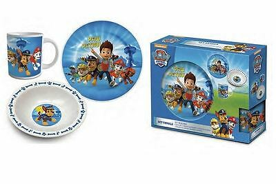 Paw Patrol Childrens Kids Blue Meal Breakfast Set Mug Plate Bowl Dinnerware