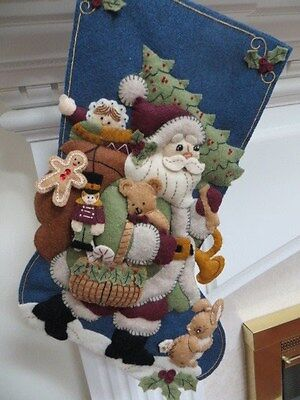 Finished Bucilla Country Santa in Woodland - Forest - Holiday Beaded