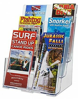 Clear Acrylic Brochure Holder Organizer Pamphlet Wall Mount Display Rack Office