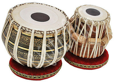 Tabla Drum Chopra Pro Brass Bayan Deco Wood Dayan Ring+Hammer+Box Free!