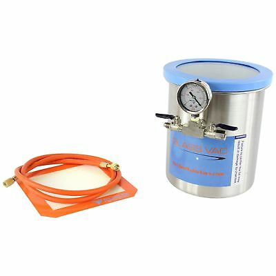 Best Value Vacs Glass Vac 1.5 Gallon Tall Stainless Steel Vacuum Degassing W ...