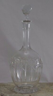 ANTIQUE LATE 19th Century VICTORIAN AMPHORA shape CUT GLASS DECANTER AND STOPPER
