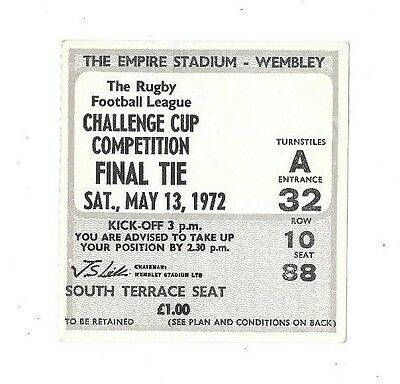 1972 - Leeds v St. Helens, Challenge Cup Final Match Ticket.