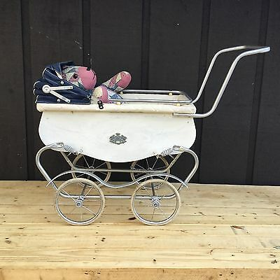 Vintage 1950's Siebert Doll Carriage, Stroller, Buggy White/Blue Baby Carriages