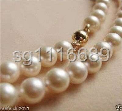 """8-9 MM AAA White freshwater Cultured Pearl Necklace 17"""" 14K Gold Clasp"""