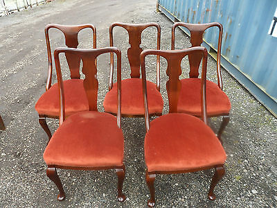 Antique turn of the century Edwardian set of five dining chairs