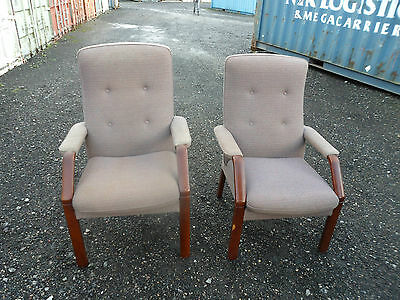 Pair of vintage Parker Knoll 'his n her' chairs for reupholstering project