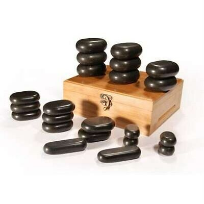 22 Piece Massage Stone Set Basalt Hot Rocks Stones With Bamboo Box