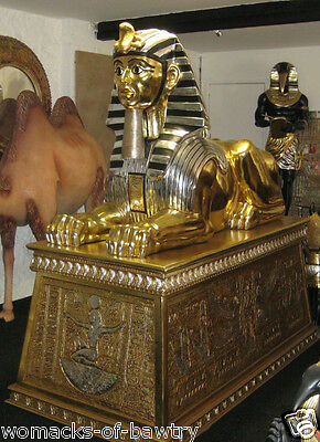 Jumbo Egyptian Sphinx On Large Carved Gold Base - Indoor Or Outdoor Use -