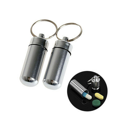 2 x Key Holder Pill Shaped Box Bottle Container Keychain Waterproof Keyring