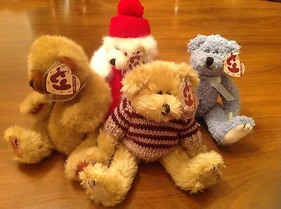 Lot of 4 Ty Bears Collectible  Peppermint , Blueberry, Chelsea, Cody NWT