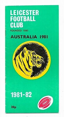 1981 - Leicester v Australia, Touring Match Programme.