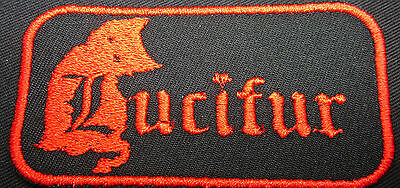 lucifur evil cat kitten patch Embroidered Iron on FREE NORTH AMERICA SHIPPING