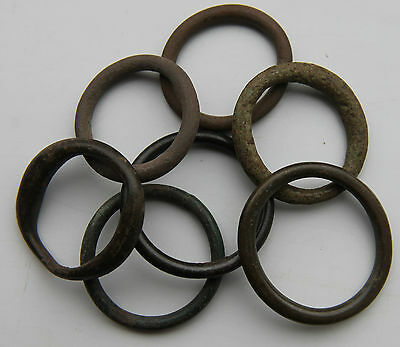 Celtic Period Bronze Groop of 7 Proto Coins, Ring Money 600-400 BC