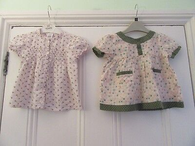 12-18m: 2 cotton summer tops/blouses - Pink floral (ZARA) + Green circles (TU)