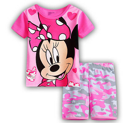 new kids baby Girls Minnie mouse summer pyjama pjs cotton size 1-6 pink