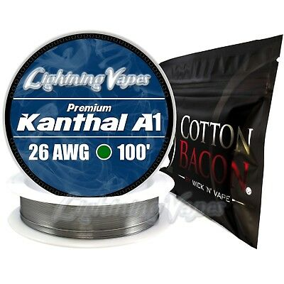 Kanthal A1 26 Gauge AWG 100' + Cotton Bacon V2 - 10 Strips - Bundle