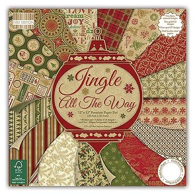 """First Edition 'Jingle All The Way' 12"""" x 12"""" FSC Papers 16 SHEETS"""