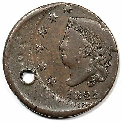 1825 N-9 Holed, Off-Center Matron or Coronet Head Large Cent Coin 1c