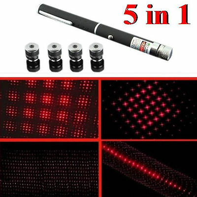 NEW 5 in 1 Military Red Laser Puntero 1MW 630nm Visible Light Red Beam Laser Pen