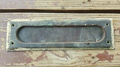 Vintage Brass Mail Slot Front Door Architectiual Salvage Natural Patina 10x3 B