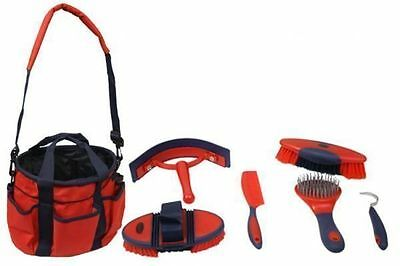 New Horse Tack Grooming RED/NAVY BLUE 6 Pc Brush Hoofpick Curry w/Grooming Bag