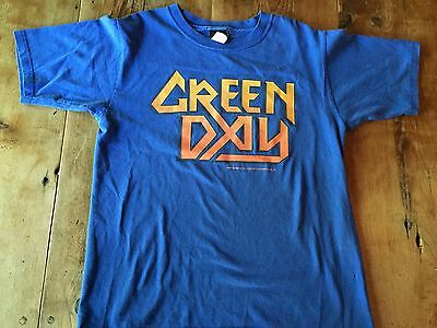 Green Day T Shirt Blue and Orange size Youth L 2004 Cotton American Idiot