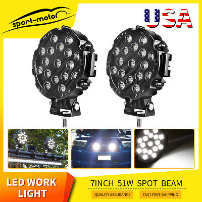 2x Offroad 7inch 51W Led Work Lights Spot Jeep Truck ATV Backup Driving Round