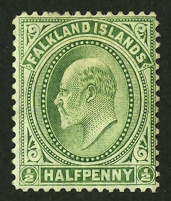 Falkland Islands  1904-07  Scott # 22  Mint Hinged (Yellow Green)