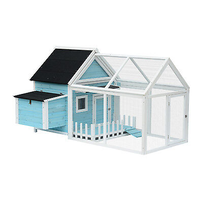 Pawhut Deluxe Chicken Coop Hen Poultry Cage Large Run Nesting Box Backyard Blue