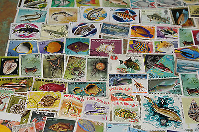 Bulk Lot Fish,sealife Themed Stamps X 50  Good Mix Free Postage In Oz