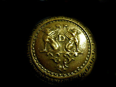 "Antique Rare Heavy Brass Door Knob Chimera's Letter ""D"" Gargoyles~Free Shipping~"