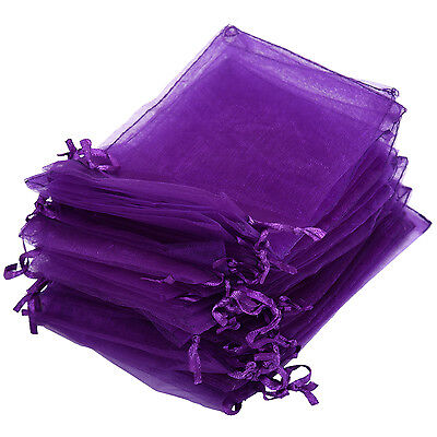 30 PCS Gift Bag Purple Organza Jewelry Pouch BT