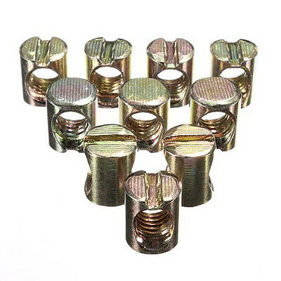10pcs M8 Barrel Bolts Cross Dowel Slotted Furniture Nut for Beds Crib Chairs BT
