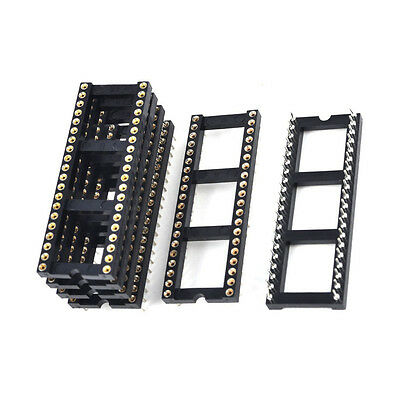 6x 2.54mm Pitch 40 Round Pins Double Row DIP IC Socket Adapter Solder BT