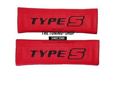 2x SEAT BELT COVERS PADS SHOULDER FOR HONDA CIVIC RED LEATHER EMBROIDERY TYPE S