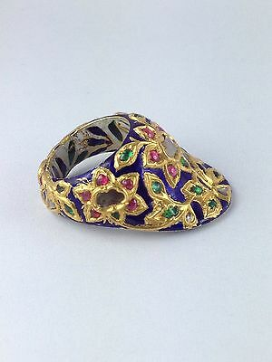 A Fine Mughal Gem-Set And Enamelled Gold Archer's Thumb Ring Late 19Th Century