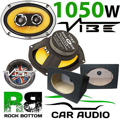 VIBE BLACKAIR 69 1050 Watts 3-Way Car Van Speakers & Black 6 x 9 Box Enclosures