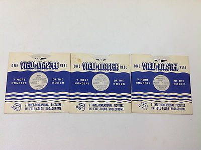 Lot of 3 SAWYER'S VINTAGE VIEW-MASTER REELS Australia