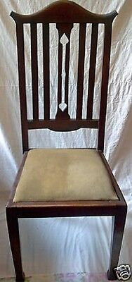 Delightful Pair Of Tall Back Arts Crafts Dining Chairs