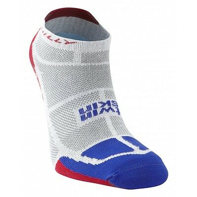 Hilly Twin Skin Anti Blister Running Sports Socklet Sock - White/Blue/Red
