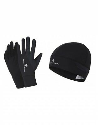 Ronhill Additions Beanie Hat & Glove Set Running & Outdoor Warm Thermal - Black