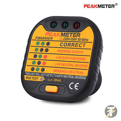 Peakmeter PM6860ER Automatic Electric Socket Tester with RCD Test Button